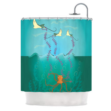 "Famenxt ""Octopus Flying Manta Rays"" Teal Green Shower Curtain"