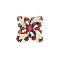 Weiss Ruby Red Rhinestone Brooch. Layered Ice Austrian Crystal Overlay. Silver Tone Square Shape. Vintage 1950s Holiday Statement Jewelry