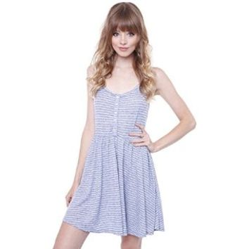 Junior's TTY-D5920 Light Blue Spaghetti Strap Casual Striped Dress