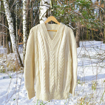 Pure Wool Ivory Men's Jumper / Cable Knit Winter Sweater / Hand Knitted Woodland V-Neck Knitwear