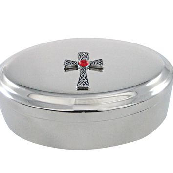 Large Celtic Cross with Red Center Pendant Oval Trinket Jewelry Box