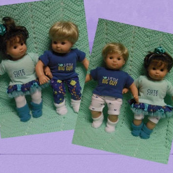 """American Girl Bitty TWINS clothes Bitty Baby clothes """"Under the Sea"""" (15 inch) Boy and Girl Twins Set doll outfits Sea Life blue aqua"""