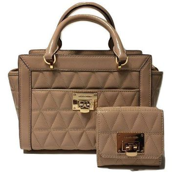 Michael Michael Kors Vivianne Sm Tz Messenger Quilted Handbag Bundled With Michael Kors Vivianne Trifold Wallet