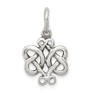 925 Sterling Silver Antiqued Scroll Celtic Knot Charm and Pendant