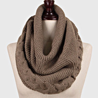 Cable Knitted Braided Infinity Winter Scarf TAUPE