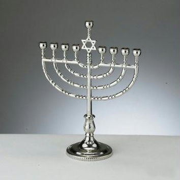 Silver Star Of David Menorah - Featuring A Shamash Holder