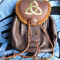 Scottish Sporran Belt Pouch in Brown Leather with Trinity Triquetra Design | celtique_creations - Leather Craft on ArtFire