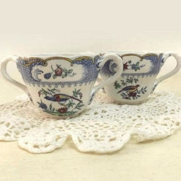 Pair of Antique Copeland Spode Cream Soup Bowls, Aviary Pattern