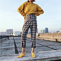 Women Fashion Retro Multicolor Stripe Tartan High Waist Leisure Pants Suit Pants Trousers
