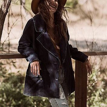 Free People Womens Denim Car Coat