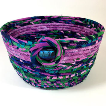 Coiled Rope Basket in Green Navy Purple - Sophisticated Clothesline Organizer Catchall - Fabric Bowl - Rope Bowl - Fiber Art - Quilted