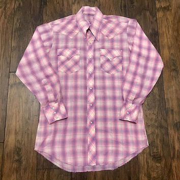 Vintage 1980s 80s Western Pink / Purple / White Plaid Pearl Snap Button Up Shirt Mens Workwear Size S Small