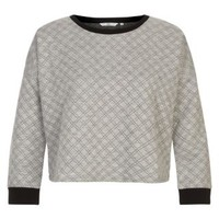 New Look Mobile | Grey Contrast Trim Quilted Sweater