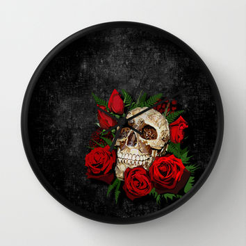 sugar skull with red rose decorative circle wall clock watch by