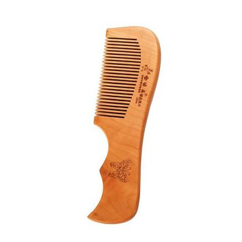 Engraved Natural Peach Wood Beard Comb