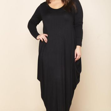 Black Flowy Draped Long Sleeves Plus Size Midi Dress