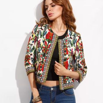 Embroidery Outerwear Tribal Print Coats and Jackets Vintage Long Sleeve Coat