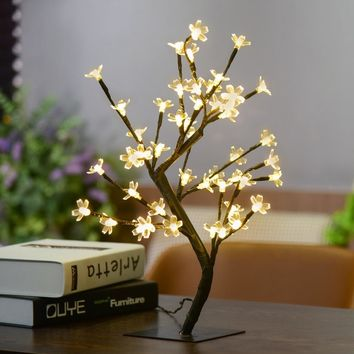 1X Crystal Cherry Blossom 48-LED Tree Light Night Lights Table Lamp Luminarias Christmas Decoration Luz De LED 45CM Night light