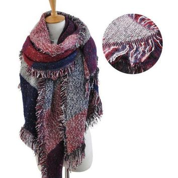 Women Winter Thick Warm Wool Pashmina Cashmere Stole Scarves Scarf Shawl Wraps Ly7