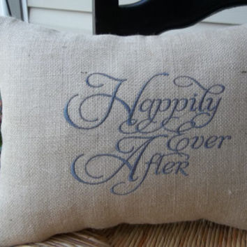 "Embroidered Burlap ""Happily ever after"" Pillow 14"" x 18"", Rustic wedding, wedding gift ,pillow with saying, decorative pillow"