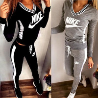 V-Neck Sweatshirt Sweater Pants Sweatpants Set Two-Piece Sportswear