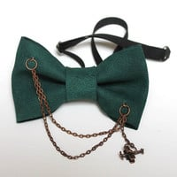 Green Leather OOAK Bow Tie with Chain and Plane Real Leather Bow Tie Bowtie Dickie Bow Wedding Groomsmen Man Men Lady Women Gift BowTie4You