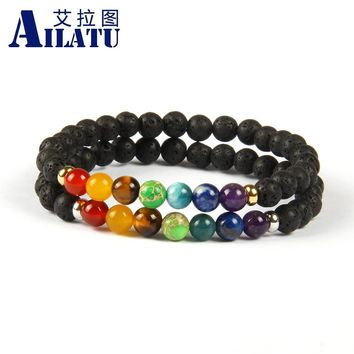 Ailatu Europe Trendy Style 6mm Lava Rock Stone and Faceted Onyx Beads with 7 Chakra Healing Stone Yoga Meditation Bracelet