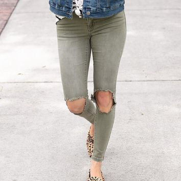 Grace & Lace Colored Mid-Rise Distressed Ankle Jeggings