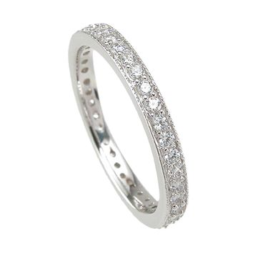 925 Sterling Silver Wedding Band 1 Carat Weight- Size 6