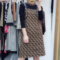 Fendi high quality new fashion more letter print long sleeve top and straps dress two piece suit
