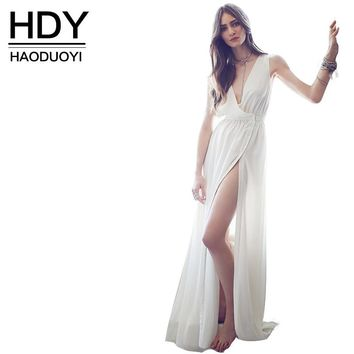Haoduoyi  Womens Summer Sexy White Slim Plus Size Maxi Dress Thigh High Split Sleeveless Party Long Dresses