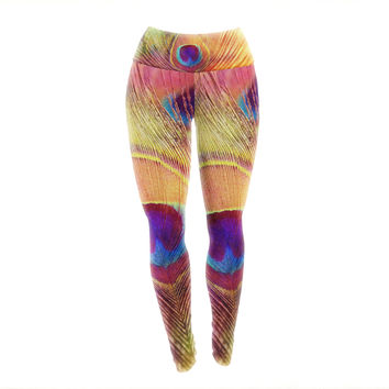 "Sylvia Cook ""Peacock Feather"" Yoga Leggings"