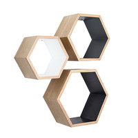 Ash Wood Nesting Hexagon Shelves - Set of 3