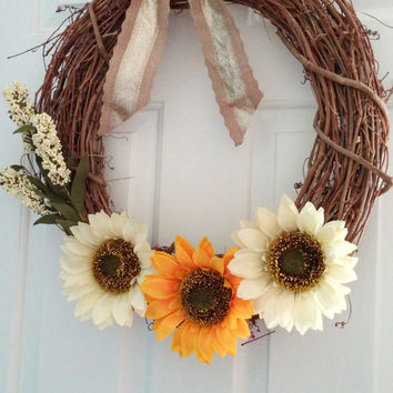 Sunflower Wreath -Rustic Sunflower Wreath - Summer Wreath - Spring Wreath - Front Door Decor