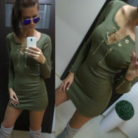 Green Long Sleeve Slim Fit Dress