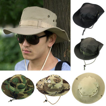 2015 New 5Color Fashion Cap Men Bucket Hat Boonie Hunting Fishing Outdoor Wide Caps Brim Baseball Cap Free Shipping