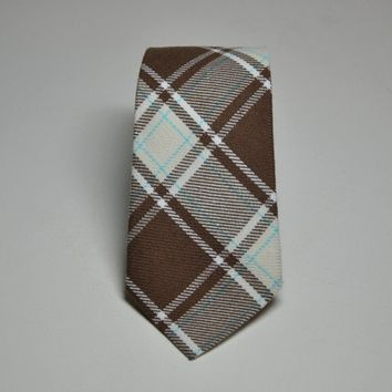 Brown Plaid Necktie for Boys or Men by MeandMatilda on Etsy