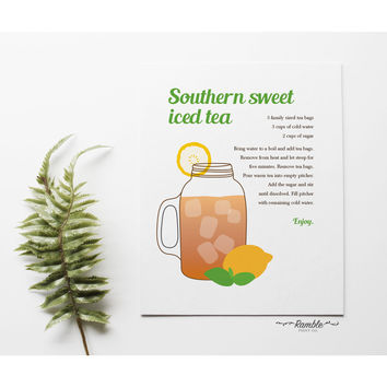 Southern Sweet Tea Mason Jar Recipe kitchen poster