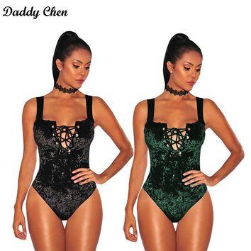 Skinny Bodysuit Women Jumpsuit Romper summer bodycon girls Sexy Lace Up Bandage short velvet Leotard lace Hollow Out playsuit