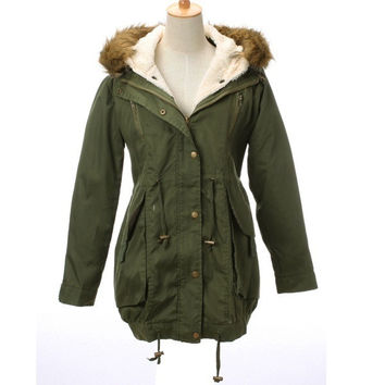 Shop Green Parka Fur Hood on Wanelo