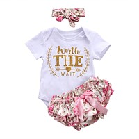 3PCS/Set Cute Newborn Baby Girl Clothes