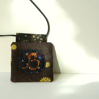 Personalized Initial Necklace, Silk Pendant, Modern Jewelry, Galaxy Navy Brown, Funky Pendant, any letter, custom order