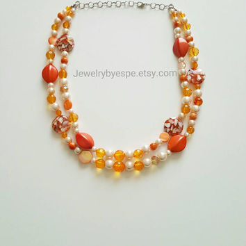 Orange Necklace Pearl Necklace Gold Necklace Crystal Necklace Statement Necklace Wedding Gifts Ideas
