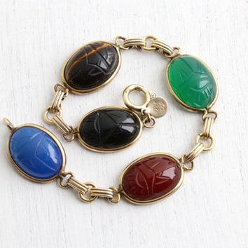 Vintage 12k Yellow Gold Filled Scarab Bracelet - Retro 1960s Oval Carved Semi Precious Colorful Stone Egyptian Revival Jewelry