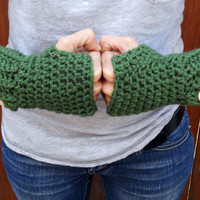 Crochet olive green button arm warmers, wrist warmers, fingerless gloves, mittens