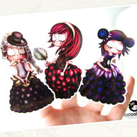 Set of 6 Gothic Fruit Art Stickers / Decals