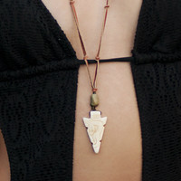 kokopelli  .... carved bone arrowhead and turquoise talisman necklace // free shipping domestic