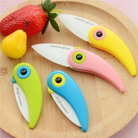 2015 Colourful Mini Bird Ceramic Knife Gift Knife Pocket Ceramic Folding Knives Kitchen Fruit Paring Knife With ABS Handle