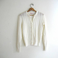 vintage white knit sweater cardigan // 1960s sweater