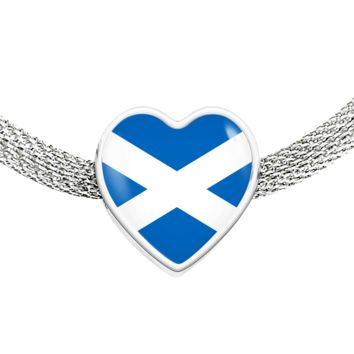 Scottish Pride - Luxury Heart Charm Bracelet